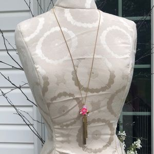 J. Crew Pink Flower Tassel Necklace